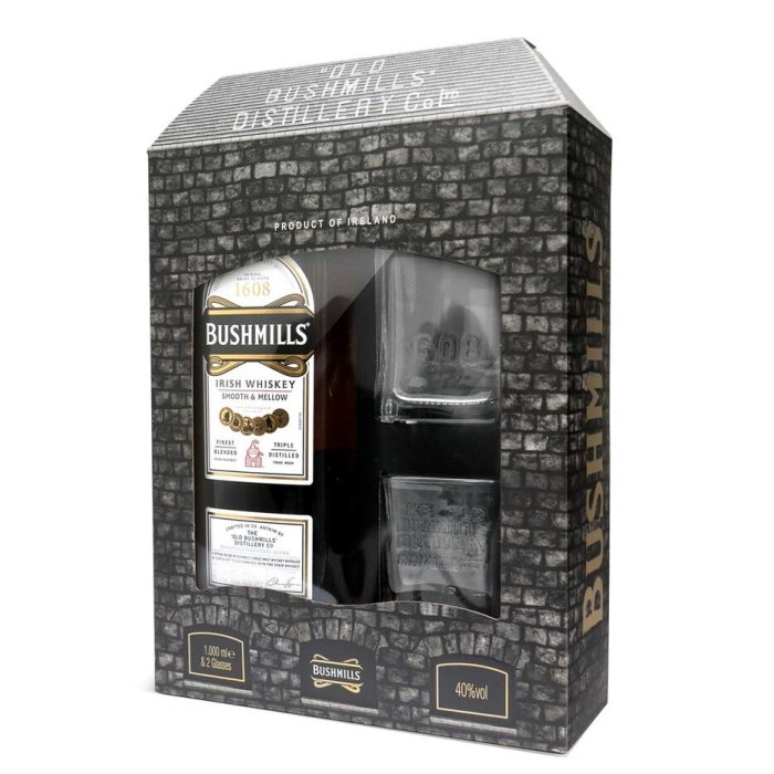 Whiskey Bushmills Smooth & Mellow 40% 0,7L+ 2 poháre